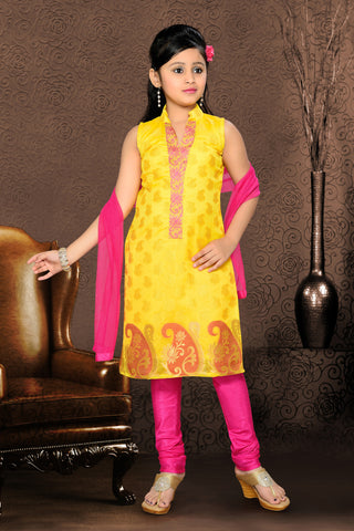 Girl's Pink color Art Silk Incredible Readymade Salwar Kameez in Embroidered with Mix Embroidery
