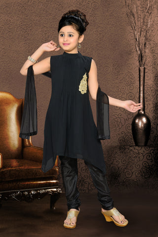 Girl's Incredible Black Art Silk in Ombre & Without Work Readymade Salwar Kameez