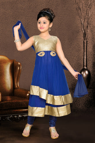 Girl's Incredible Blue color Art Silk Readymade Salwar Kameez in Embroidered with Gold Embroidery