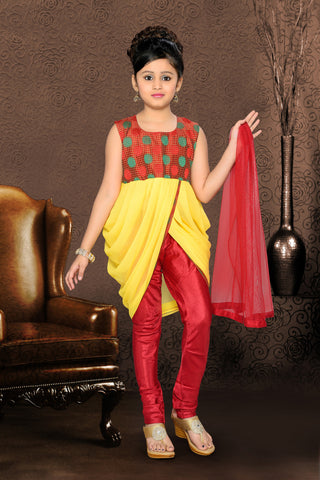 Girl's Incredible Red Art Silk in Printed Readymade Salwar Kameez