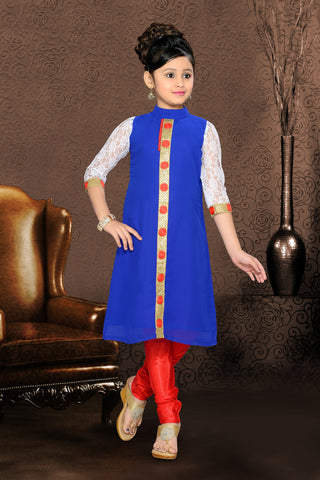 Girl's Incredible Red Art Silk in Self Design Readymade Salwar Kameez