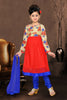 Girl's Incredible Blue Art Silk in Self Design Readymade Salwar Kameez