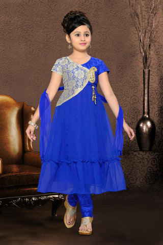 Girl's Blue Art Silk in Self Design Incredible Readymade Salwar Kameez