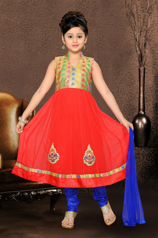 Girl's Incredible Blue color Art Silk Readymade Salwar Kameez in Self Design with Mix Embroidery