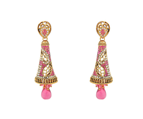 New Design Yellow & Pink Color Earrings For Women's