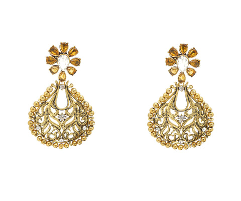 Perfect look Brown & Gold Artificial Jewellery Earrings