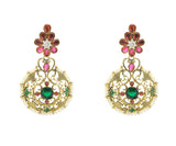 Perfect look Pink, Green & Gold Earrings