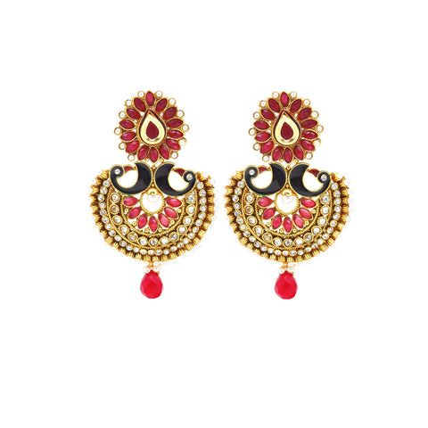 Perfect look Red, Black, White & Gold Earrings
