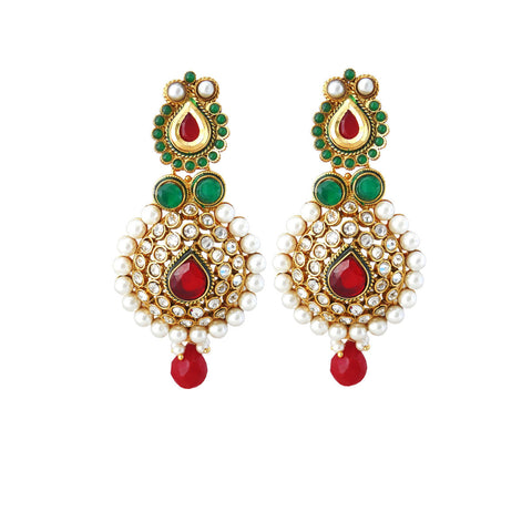 Perfect look Red, Green & White Earrings