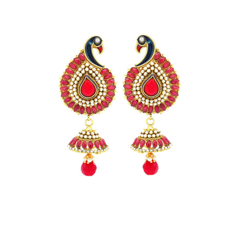 Traditional & Designer Collection In Artificial Jewellery of Earrings In Red & White