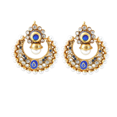 Perfect look Blue, White & Gold Artificial Jewellery Earrings