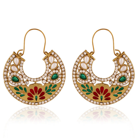 Perfect look Red, Green & White Artificial Jewellery Earrings