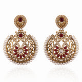 Heavy & luxurious Collection In Artificial Jewellery of Earrings In Red & White