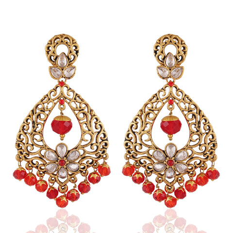 Pretty Red & Off White Color Earrings