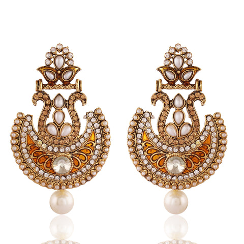 Perfect Look In Orange & Off White Color Earrings