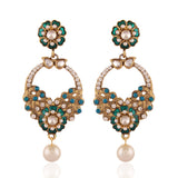 Perfect look Green & White Artificial Jewellery Earrings