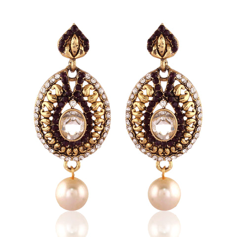 New Look White & Maroon Artificial Jewellery Earrings For Women's