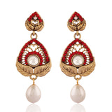 Women's New Design Artificial Jewellery Earrings In Red & White