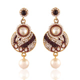 luxurious & Designer Collection In Artificial Jewellery of Earrings In White & Maroon