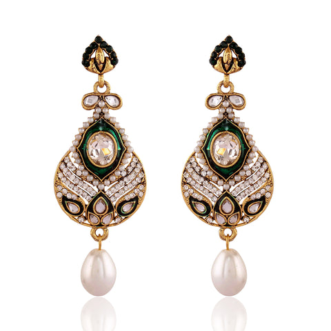 New Look Green & White Artificial Jewellery Earrings For Women's