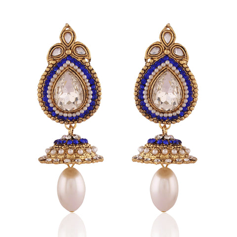 Perfect look Blue & White Artificial Jewellery Earrings
