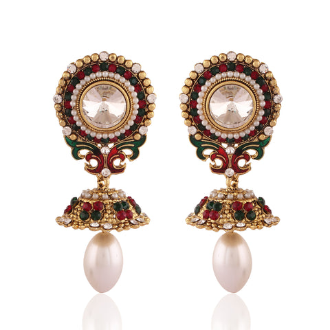 New Look Red, Green, White & Gold Artificial Jewellery Earrings For Women's