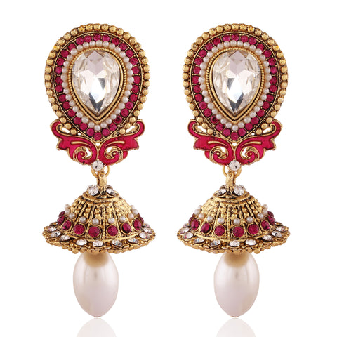 Charming Red & Off White Color Earrings