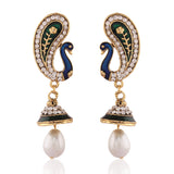 Women's Art Blue & Off White Color Artificial Jewellery Earrings