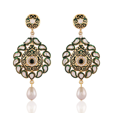 Designer & Heavy Collection In Artificial Jewellery of Earrings In Green & White