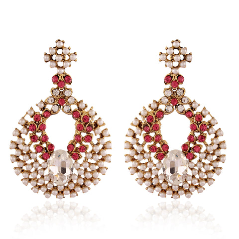 Designer & Heavy Collection In Artificial Jewellery of Earrings In Red & White