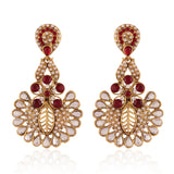 Designer & Heavy Collection In Artificial Jewellery of Earrings In Red, White & Gold