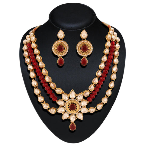 Appealing Red & Off White Color Fashion Jewellery Necklaces