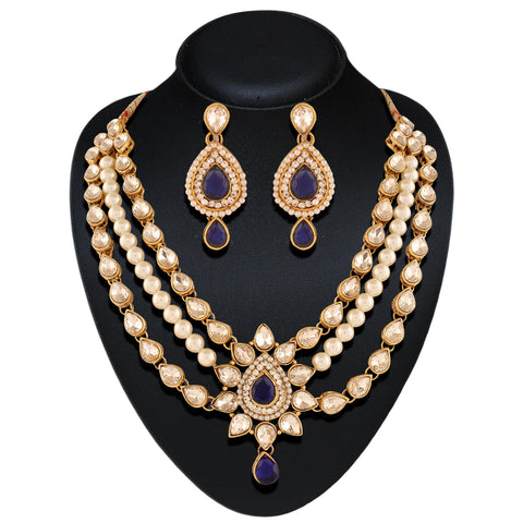 Creative Fashion Jewellery Necklaces For Women's In Purple & Off White Color