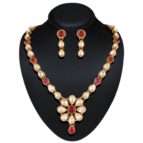 Lovely Red & Off White Color Fashion Jewellery Necklaces