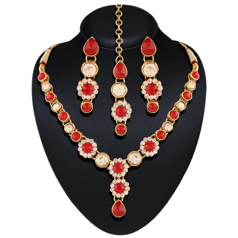 Creative Necklaces For Women's In Red & Off White Color