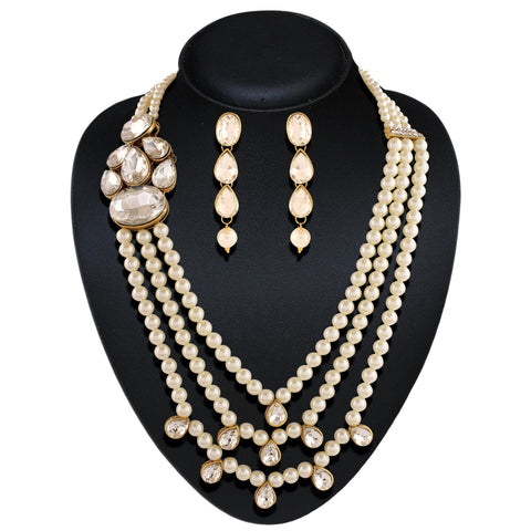 Beautiful Precious Jewellery Necklaces For Women's In Off White Color