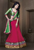 Women's Georgette Fabric & Pink Color Pretty Unstitched Lehenga Choli With Lace Work Dupatta