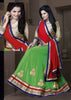 Women's Georgette Fabric & Lime Green Color Pretty Circular Lehenga Style With Lace Work Dupatta