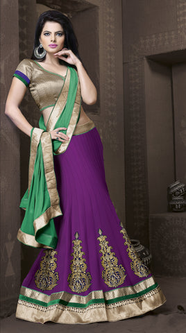 Women's Georgette Fabric & Purple Color Pretty Mermaid Cut Lehenga Style With Lace Work Dupatta