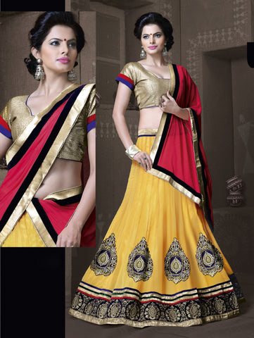 Women's Georgette Fabric & Yellow Color Pretty Mermaid Cut Lehenga Style With Lace Work Dupatta