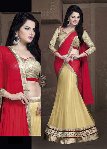 Women's Georgette Fabric & Cream Color Pretty Fish cut Lehenga Style
