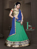 Women's Georgette Fabric & Green Color Pretty Unstitched Lehenga Choli With Lace Work Dupatta