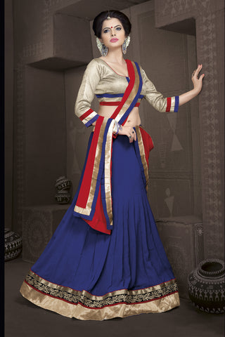 Women's Deep Blue Color Pretty A Line Lehenga Style With Lace Work Dupatta