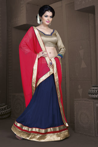 Women's Georgette Fabric & Royal Blue Color Pretty A Line Lehenga Style With Lace Work Dupatta