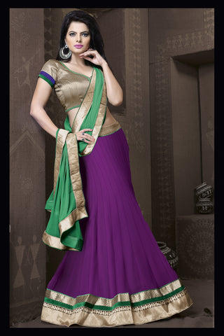 Women's Georgette Fabric & Purple Color Pretty A Line Lehenga Style With Lace Work Dupatta