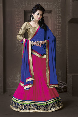 Women's Georgette Fabric & Hot Pink Color Pretty A Line Lehenga Style With Lace Work Dupatta