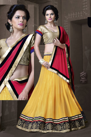Women's Lemon Color Pretty A Line Lehenga Choli With Lace Work Dupatta