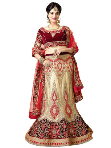 Women's Cream Color Pretty A Line Lehenga Style With Resham Work Dupatta