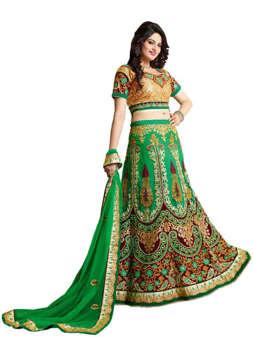 Women's Net Fabric & Chrome Green Color Pretty A Line Lehenga Style With Resham Work Dupatta