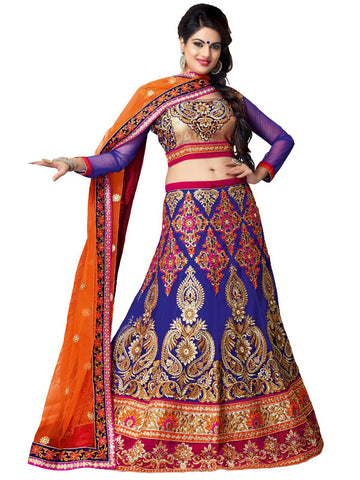 Women's Net Fabric & Mystic Blue Color Pretty A Line Lehenga Style With Lace Work Dupatta
